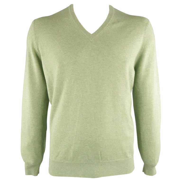 f3dcc082068 BRUNELLO CUCINELLI Size 44 Green Knitted Cashmere V-neck Sweater