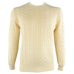 BRUNELLO CUCINELLI Size 42 Beige Cable Knit Cashmere Sweater