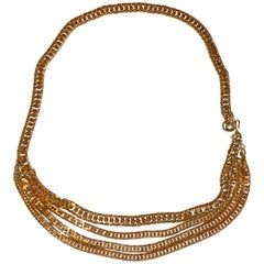 Thick Polished Gilded Gold Vermeil Hardware 4-Tier Adjustable Chain Belt