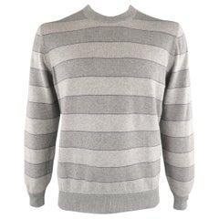 BRUNELLO CUCINELLI Size 44 Grey & Purple Striped Cashmere Sweater