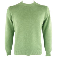 Men's BRUNELLO CUCINELLI Size 42 Green Knitted Cashmere Elbow Pads Sweater
