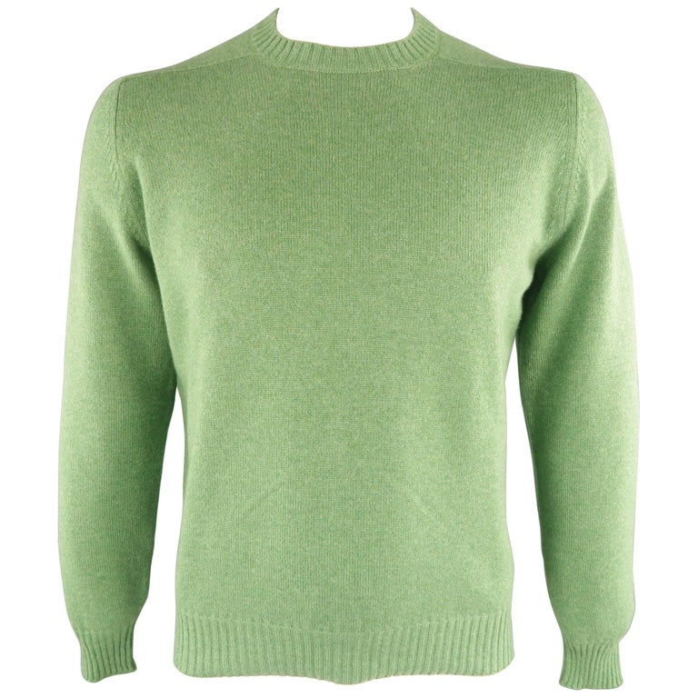Men's BRUNELLO CUCINELLI Size 42 Green Knitted Cashmere Elbow Pads Sweater For Sale