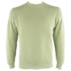 BRUNELLO CUCINELLI Size 42 Green Ribbed Knit Cashmere Sweater