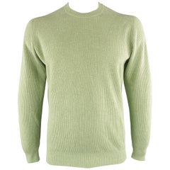 Men's BRUNELLO CUCINELLI Size 44 Green Ribbed Knit Cashmere Sweater