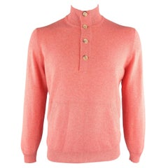 BRUNELLO CUCINELLI Size 42 Salmon Knitted Cashmere Henley Sweater