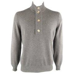 BRUNELLO CUCINELLI Size 44 Dark Gray Knitted Cashmere Henley Sweater