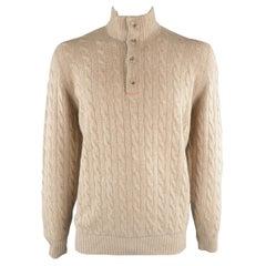 BRUNELLO CUCINELLI Size 44 Khaki Cable Knit Cashmere Henley Sweater