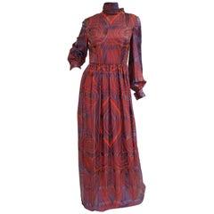 1970s Bill Blass Purple and Red Silk Evening Dress W/  Neck Tie/ Bow Detail