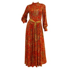 1970s Shannon Rodgers for Jerry Silverman Red Aesthetic Maxi Dress