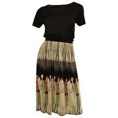Vintage Jenast Paris Black and Olive Knit Wear 1920s Deco Print Skirt Set