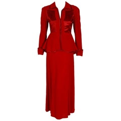 1975 Ossie Clark Red Moss-Crepe and Satin Deco Peplum Jacket Dress Gown Ensemble