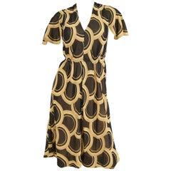 1960s Pauline Trigere Circle OP Art Cotton Dress w/ Scalloped Sleeve & Scarf