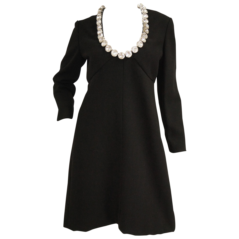 1960s Donald Brooks Black Cocktail Dress with Riviera Rhinestone Neckline
