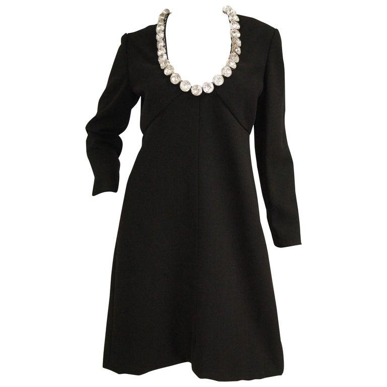 1960s Donald Brooks Black Cocktail Dress with Riviera Rhinestone Neckline For Sale