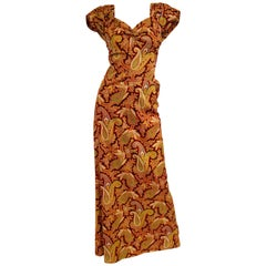 1940er Mary Black of London Rotes Paisley-Kleid mit Turnüre