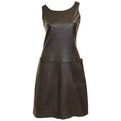1960s Black Lambskin Leather Shift Dress