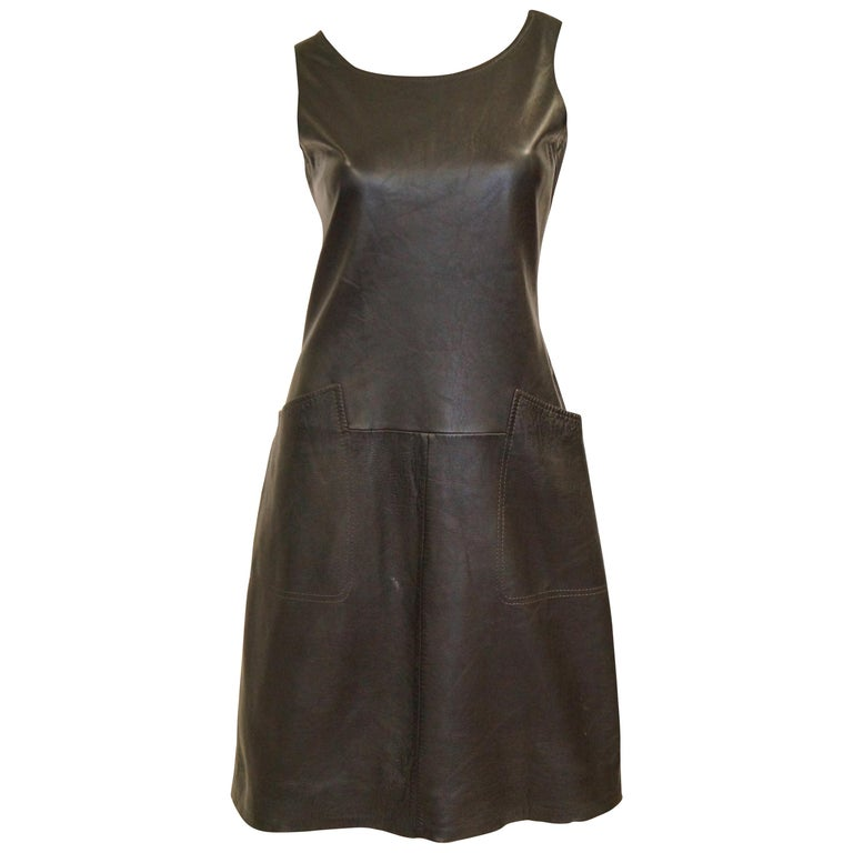 1960s Black Lambskin Leather Shift Dress For Sale