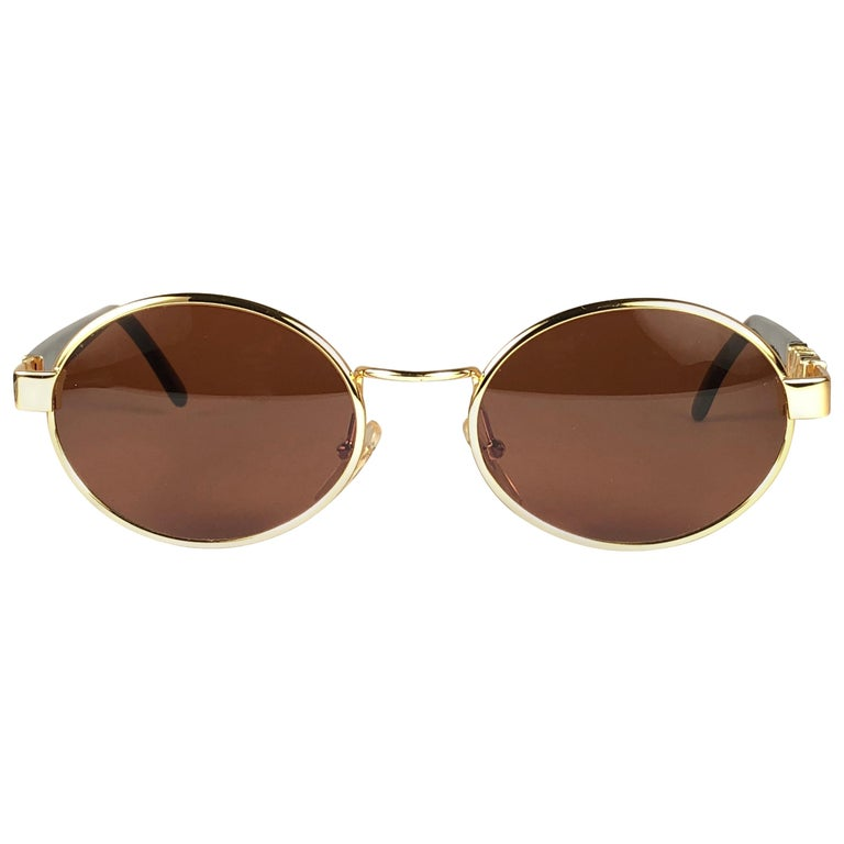46877fbb0c Mint Vintage Moschino Small Oval Gold 1990 Sunglasses Made in Italy For Sale