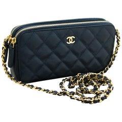 CHANEL Caviar Navy WOC Wallet On Chain W Zip Chain Shoulder Bag