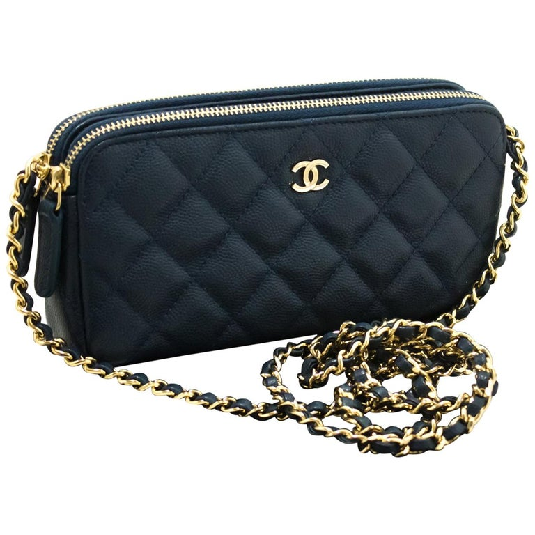 acc1c65009a4 CHANEL Caviar Navy WOC Wallet On Chain W Zip Chain Shoulder Bag For Sale