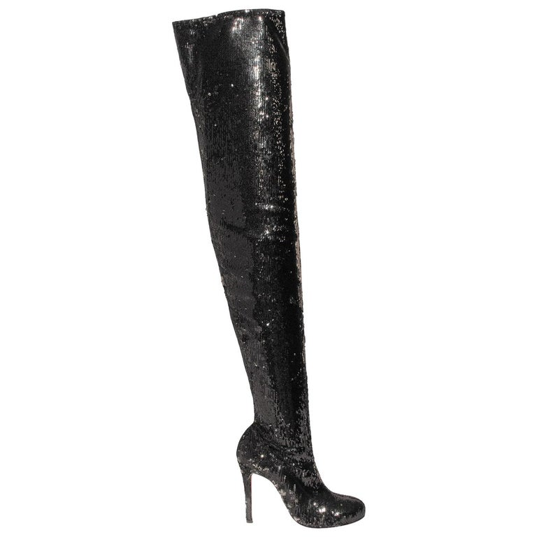 online retailer 007d0 7334c Christian Louboutin Louise 100 Sequin Over-The-Knee Boots
