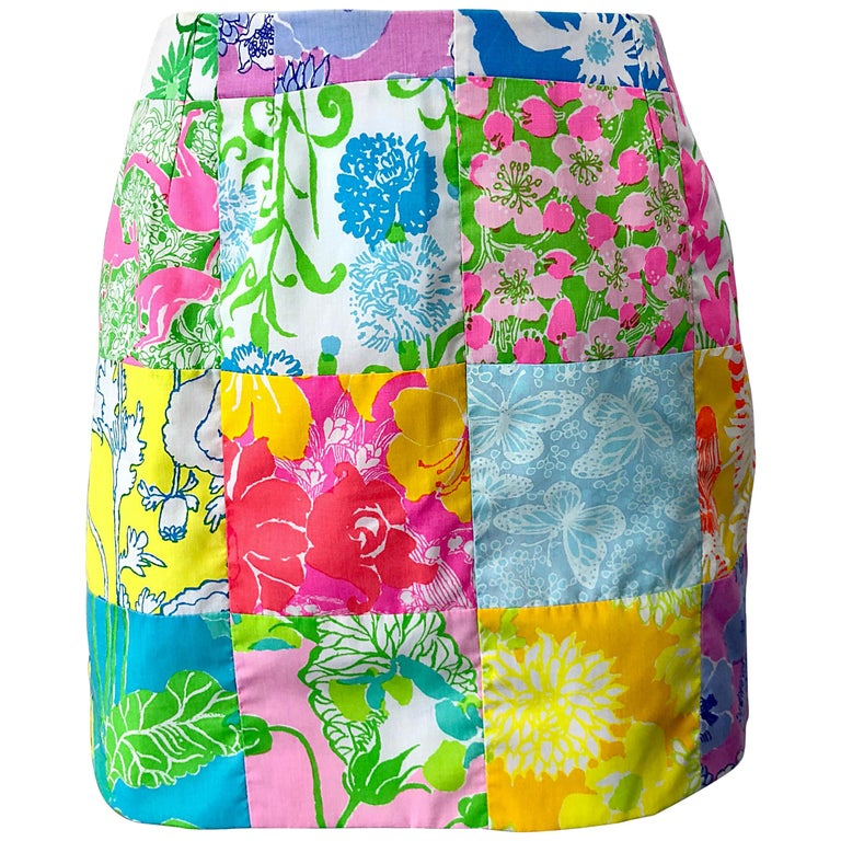 d2fc4d73e 1970s Lilly Pulitzer The Lilly Rare Signature Patchwork Vintage 70s Mini  Skirt For Sale