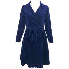 1950s Adele Simpson Navy Midnight Blue Velvet Vintage 50s Wrap Shirt Dress