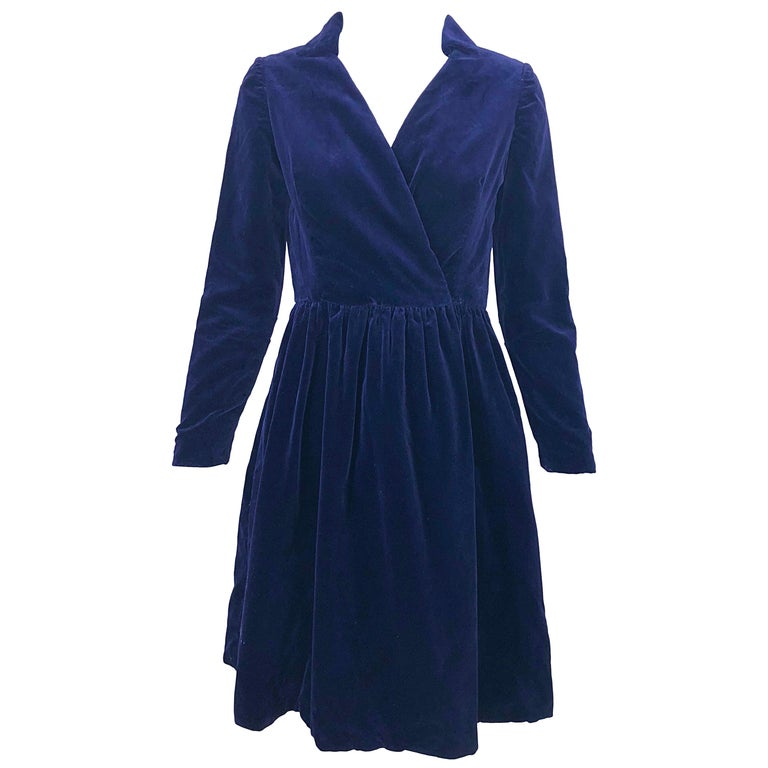 1950s Adele Simpson Navy Midnight Blue Velvet Vintage 50s Wrap Shirt Dress