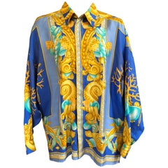 V2 Gianni Versace 1998 Rare Iconic Mens Sea Shell Baroque Siren 100% Silk Shirt