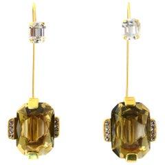 Marni Taupe Crystal Goldtone Hanging Earrings/Set Of Brooch Pins
