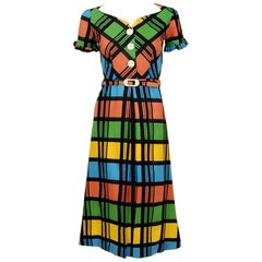 1940's Rainbow Plaid Print Cotton Button-Down Belted Swing Dress w/ Tags