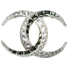 Chanel Logo CC Silvertone Clear Round & Grey Square Crystal Brooch/Pin