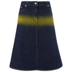 "ALEXANDER McQUEEN S/S 1997 ""La Poupee"" Spray Paint Striped Denim Jean Skirt"