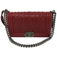 Red Chanel Limited Edition Boy Bag