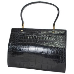 House of Grimaldi Black Gloss Alligator Handbag with Mirror, 1960s
