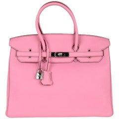 Hermes Birkin 35 Bag Rare 5P Pink Togo Palladium Hardware