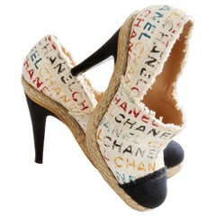 Chanel Multicolor White Graffiti Toile Canvas Espadrilles Heels + Box 39C $1025