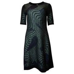 M Missoni Black/Green Metallic Short Sleeve Dress Sz 42