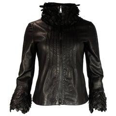 Emporio Armani Brown Leather Jacket W/ Petal Collar & Cuffs Sz 2
