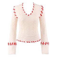 "ALEXANDER McQUEEN A/W 1999 ""The Overlook"" Cream Knit Ribbon Stitched Sweater"