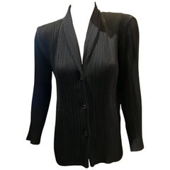 "1990s Issey Miyake Black ""Pleats Please"" Vintage Jacket Blouse Blazer Size Large"