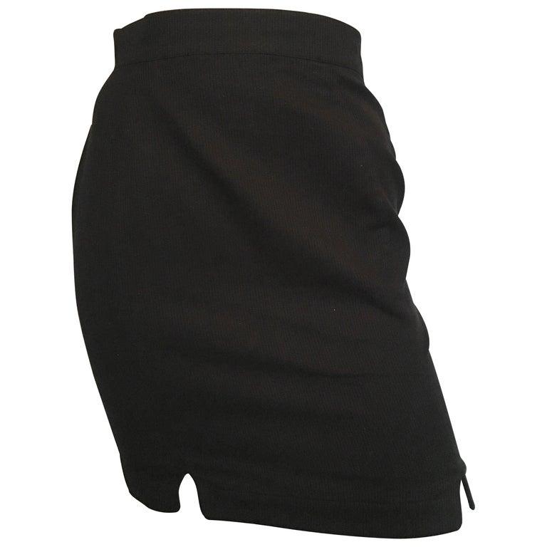 Thierry Mugler 1990s Black Cotton Short Skirt Size 2.