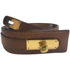 HERMES Vintage Belt Kelly in Gold Courchevel Leather Size 72