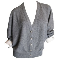Valentino Grey Cashmere Cardigan Sweater with Rhinestones and Cuffs, 1980s