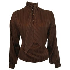 Yves Saint Laurent Rive Gauche 1970s Brown Silk Blouse with Tie Size Large.