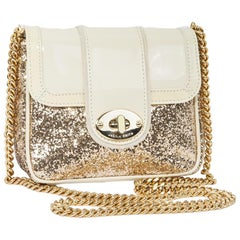 JACKIE SMITH Small Bag in Beige Patent and Golden Glitter Leather