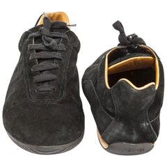 HERMES Sneakers in Black Velvet Calfskin Leather Size 44.5FR