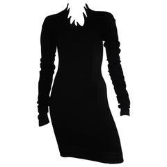 Romeo Gigli 1990 Black Wool Sexy Dress Size 4.