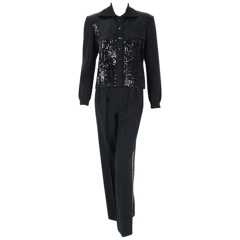 0e458bc2917 1974 Yves Saint Laurent Sequin Black Wool Sweater Le Smoking Tuxedo Pants  Suit For Sale
