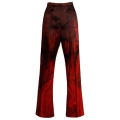 1990s Couture Jean-Louis Scherrer Vintage Painted Red + Black Trousers/ Pants